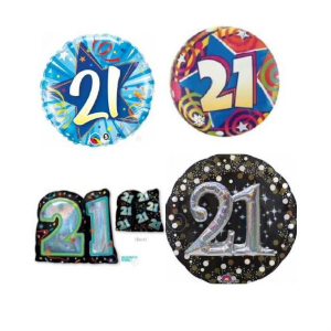 Helium Quality 21st Birthday Foils Unfilled