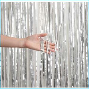 Foil Curtain Satin Chrome Silver 1m x 2.