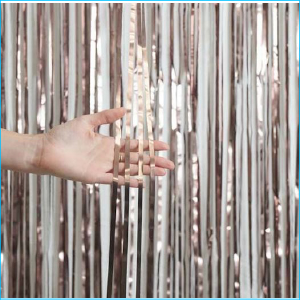 Foil Curtain Satin Chrome Rose Gold 1m x