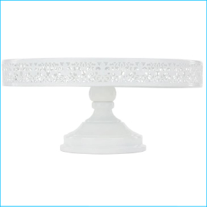 Cake Stand White Glossy Lace 14""