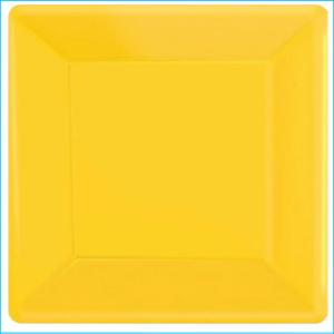 Yellow Square Plastic Snack Plates Pk 20