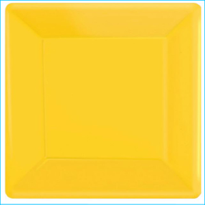 Yellow Square Plastic Banquet Plates Pk