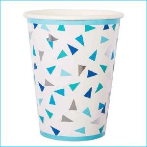 Blue & Silver Triangle Paper Cups Pk 8