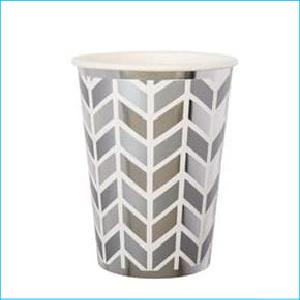Silver Geometric Paper Cups Pk 8