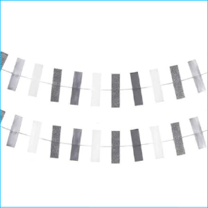 Silver and White Rectangle Shape Garland