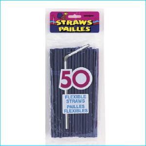 Navy Blue Flexible Straws Pk 50