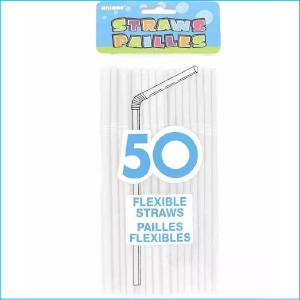 White Flexible Straws Pk 50