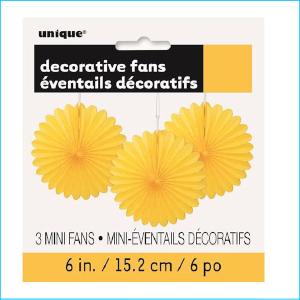 Mini Hanging Fans Yellow Pk 3
