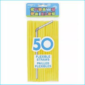 Yellow Flexible Straws Pk 50