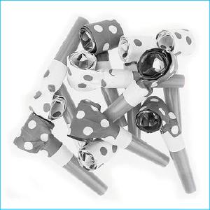 Silver/White Polka Dot Blowouts Pk 10