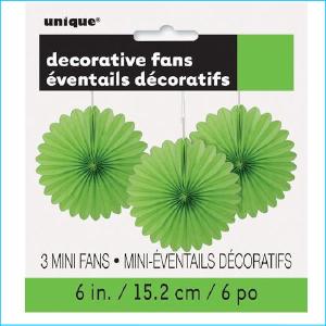 Mini Hanging Fans Lime Green Pk 3