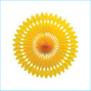 Decorative Fan Yellow 40cm Pk 1