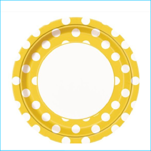 Yellow Dots Paper Lunch Plates Pk 8