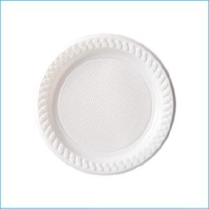 White Round Plastic Plates Pk 20