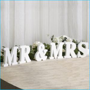Wooden Letters MR & MRS White 18cmH