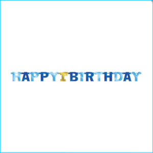 Happy 1st Birthday Blue Jumbo Banner 213