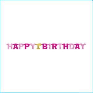 Happy 1st Birthday Pink Jumbo Banner 213