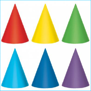 Party Hat Primary Colours Pk 12