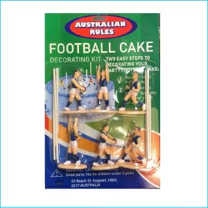Cake Topper AFL Football Blue Set of 8