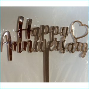 Cake Topper Happy Anniversary Rose Gold
