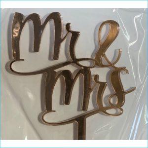 Cake Topper Mr & Mrs Rose Gold