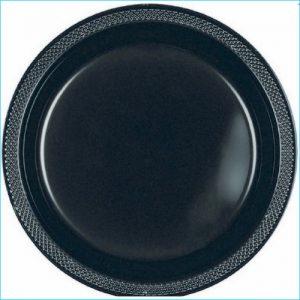 Black Round Plastic Dinner Plates Pk 20