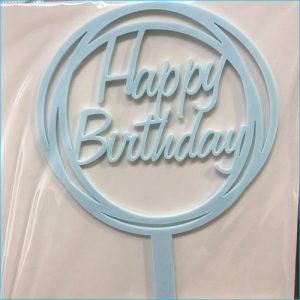 Cake Topper Birthday Round Blue