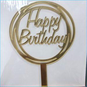 Cake Topper Birthday Round Gold