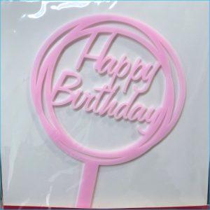 Cake Topper Birthday Round Pink