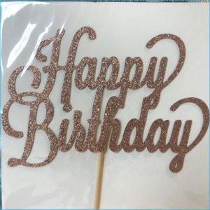 Cake Topper Birthday Glitter Rose Gold