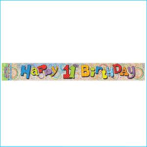 Happy 11th Birthday Foil Banner 365cm
