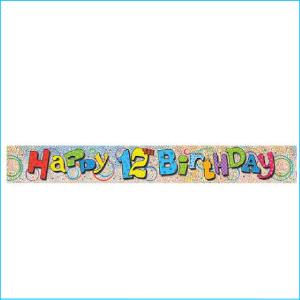 Happy 12th Birthday Foil Banner 365cm