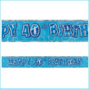 Happy 40th Birthday Blue Foil Banner 365
