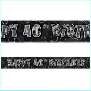 Happy 40th Birthday Black Foil Banner 36