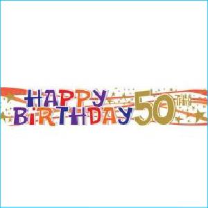 Happy 50th Birthday Laminated Banner 180