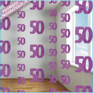 Hanging Strings 50 Pink Glitz Pk 6