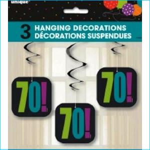 Birthday Cheer 70 Hanging Swirls Pk 3