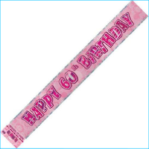 Happy 60th Birthday Pink Foil Banner 365