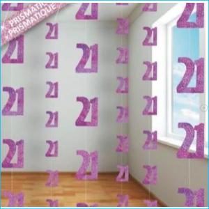 Hanging Strings 21 Pink Glitz Pk 6