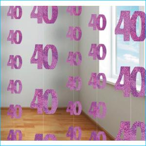 Hanging Strings 40 Pink Glitz Pk 6