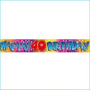 Happy 40th Birthday Rainbow Foil Banner