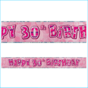 Happy 30th Birthday Pink Foil Banner 365