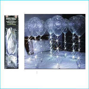 Sparkle Balloon Ribbon LED Light White