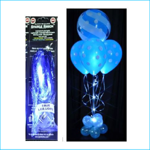 Sparkle Balloon Ribbon LED Light Blue