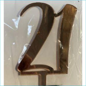 Cake Topper Rose Gold Number 21