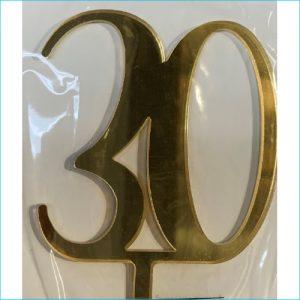 Cake Topper Gold Number 30