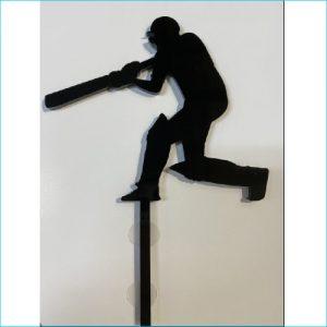 Cake Topper Cricket Black 12cm x 9cm