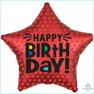 Foil Happy Birthday Red Dot Star 45cm