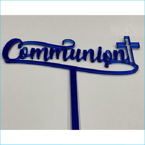 Cake Topper Communion Blue