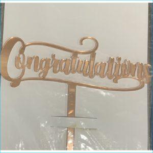 Cake Topper Congratulations Rose Gold